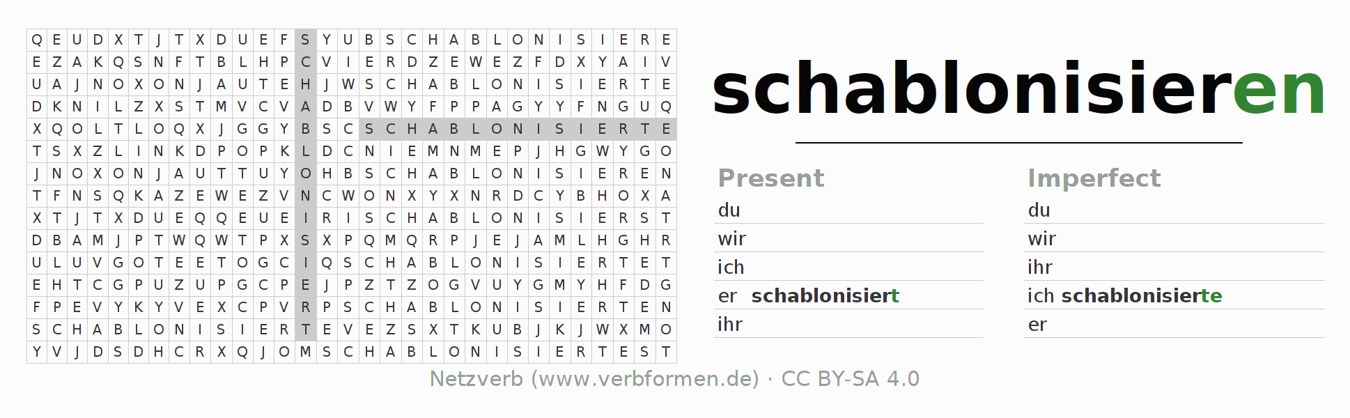 Word search puzzle for the conjugation of the verb schablonisieren