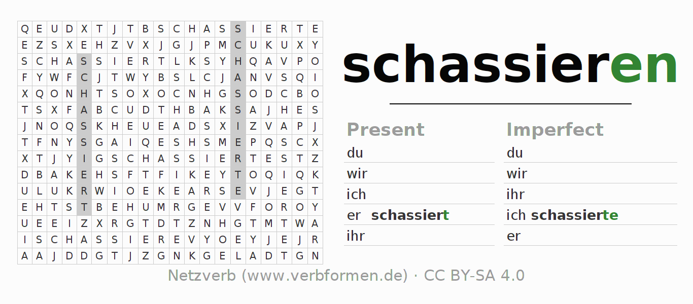 Word search puzzle for the conjugation of the verb schassieren (ist)