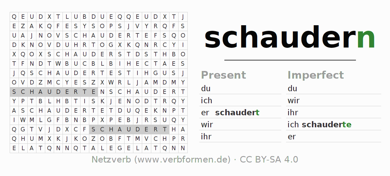 Word search puzzle for the conjugation of the verb schaudern