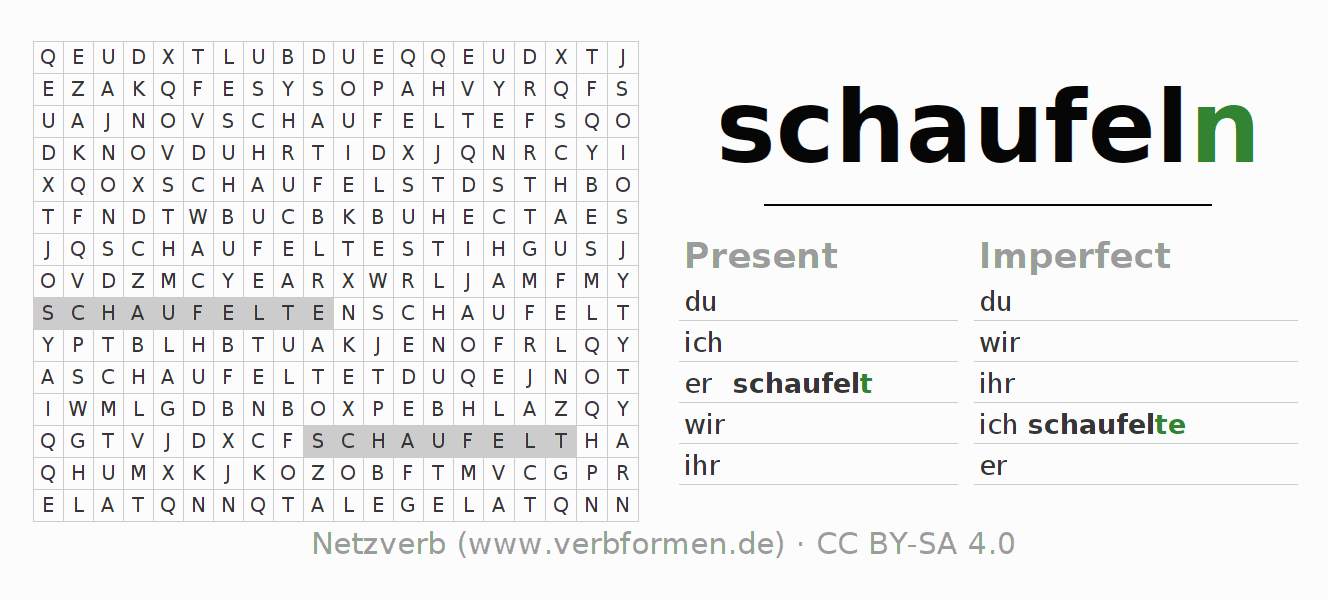 Word search puzzle for the conjugation of the verb schaufeln (hat)