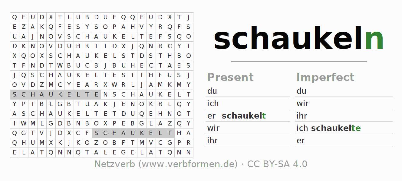 Word search puzzle for the conjugation of the verb schaukeln (ist)