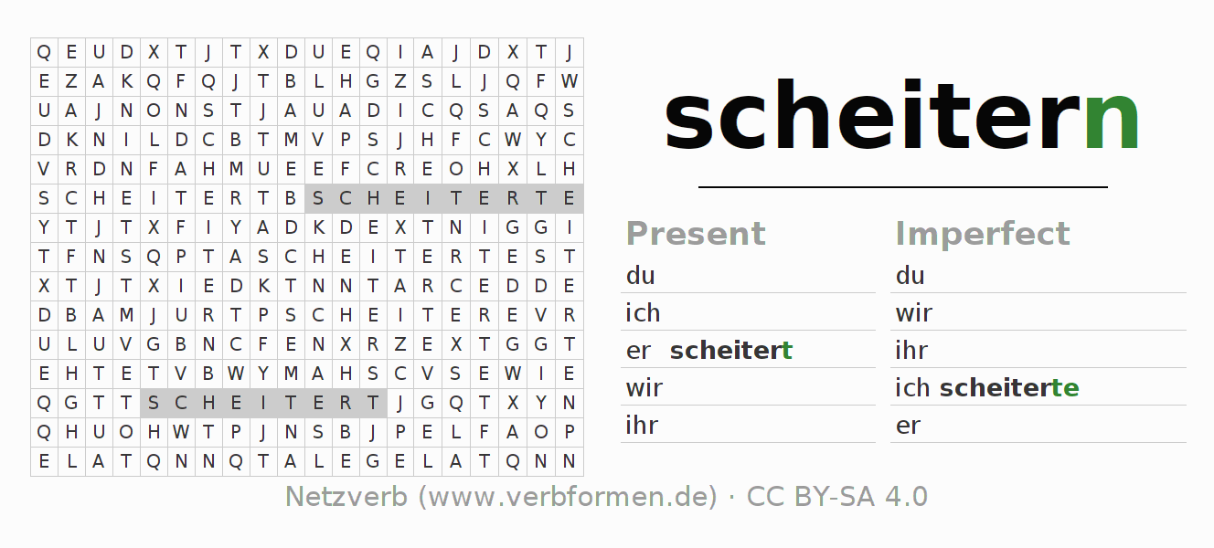 Word search puzzle for the conjugation of the verb scheitern