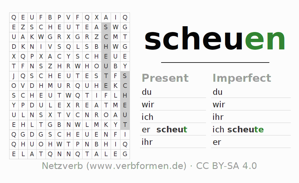Word search puzzle for the conjugation of the verb scheuen
