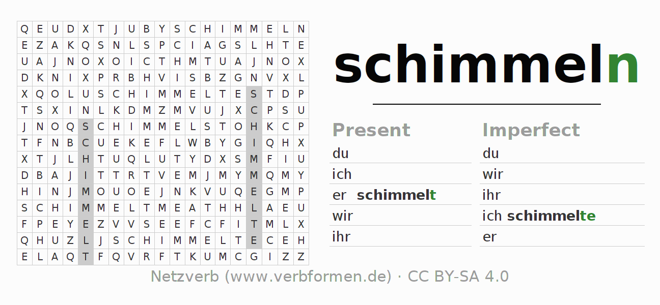 Word search puzzle for the conjugation of the verb schimmeln (hat)