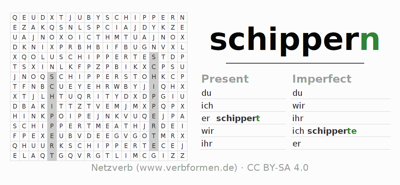 Word search puzzle for the conjugation of the verb schippern (ist)