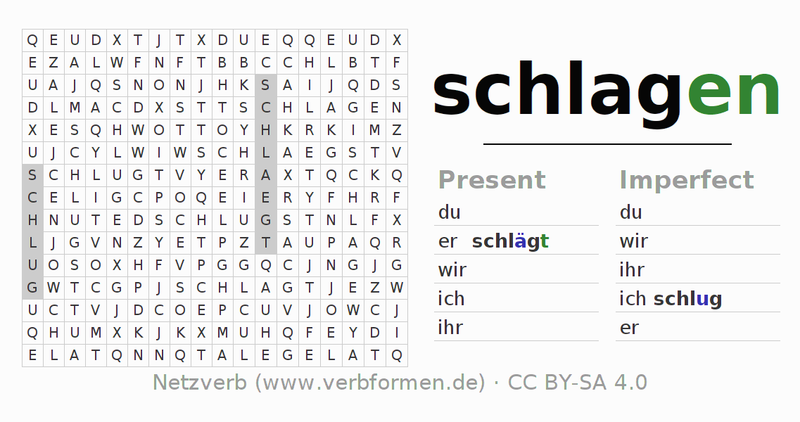Word search puzzle for the conjugation of the verb schlagen (hat)