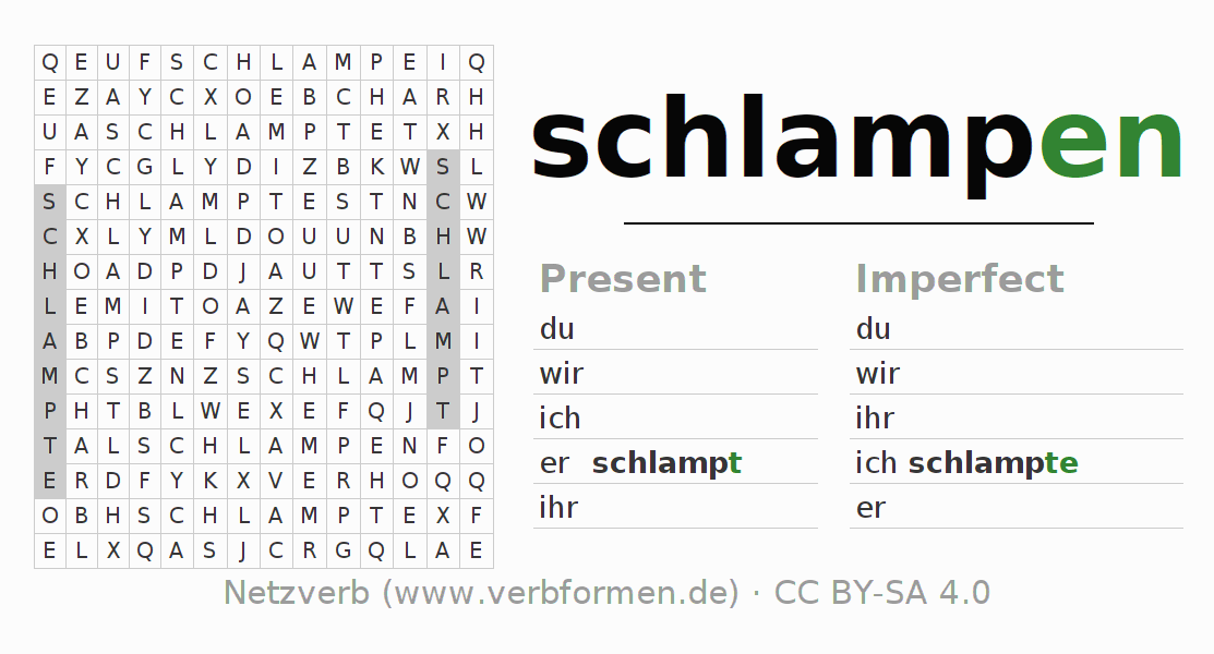 Word search puzzle for the conjugation of the verb schlampen