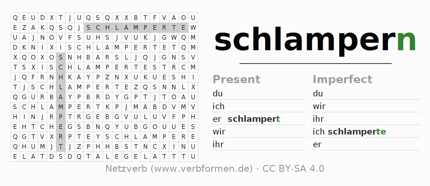 Word search puzzle for the conjugation of the verb schlampern