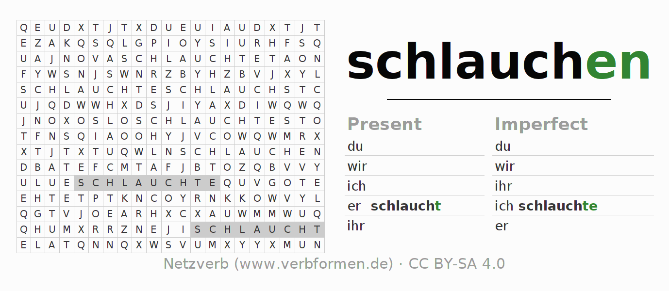 Word search puzzle for the conjugation of the verb schlauchen