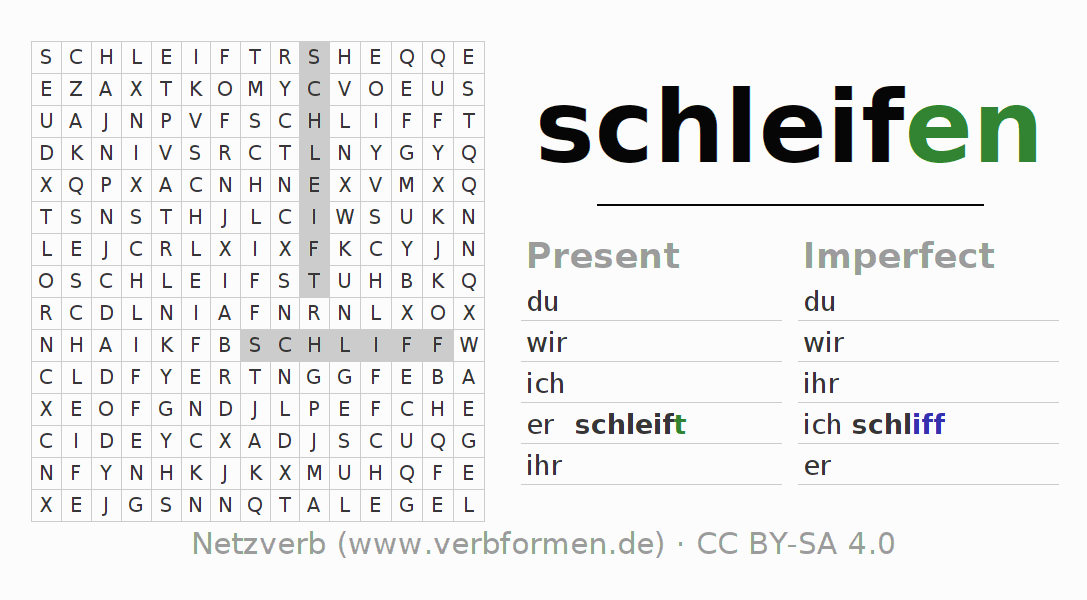 Word search puzzle for the conjugation of the verb schleifen (unr) (hat)