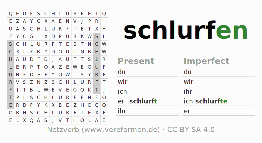 Word search puzzle for the conjugation of the verb schlurfen (ist)