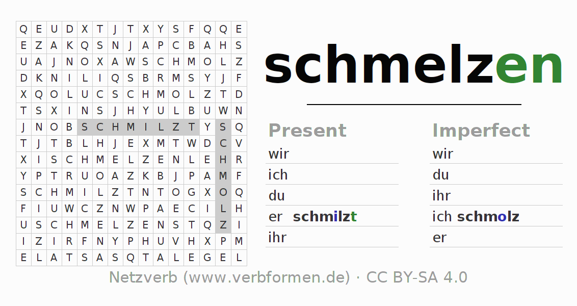 Word search puzzle for the conjugation of the verb schmelzen (hat)