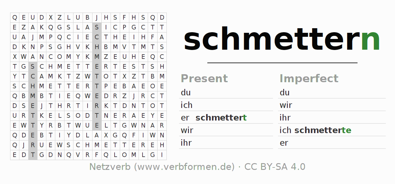 Word search puzzle for the conjugation of the verb schmettern (hat)