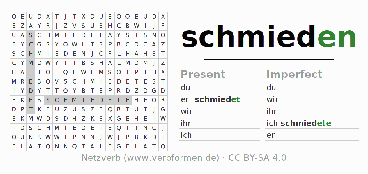 Word search puzzle for the conjugation of the verb schmieden