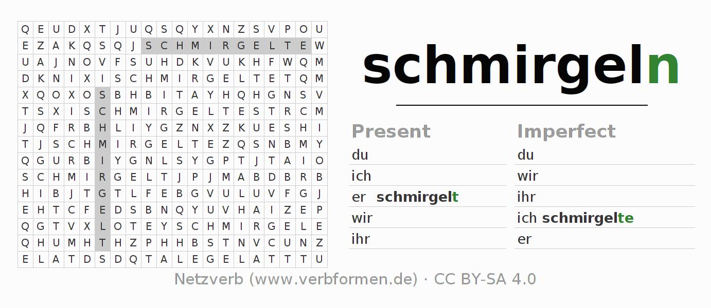 worksheets | verb schmirgeln | exercises for conjugation of german