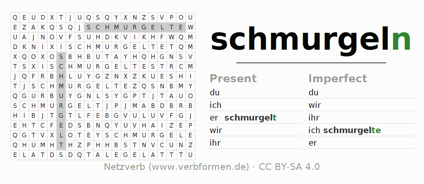 Word search puzzle for the conjugation of the verb schmurgeln