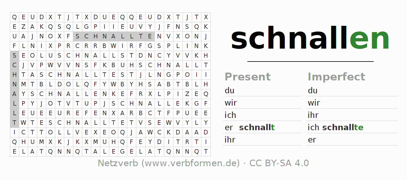 Word search puzzle for the conjugation of the verb schnallen