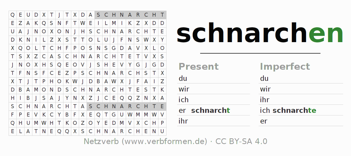 Word search puzzle for the conjugation of the verb schnarchen