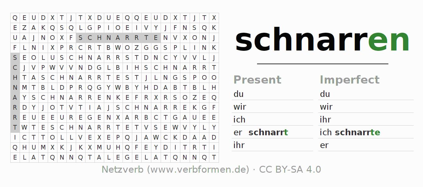 Word search puzzle for the conjugation of the verb schnarren