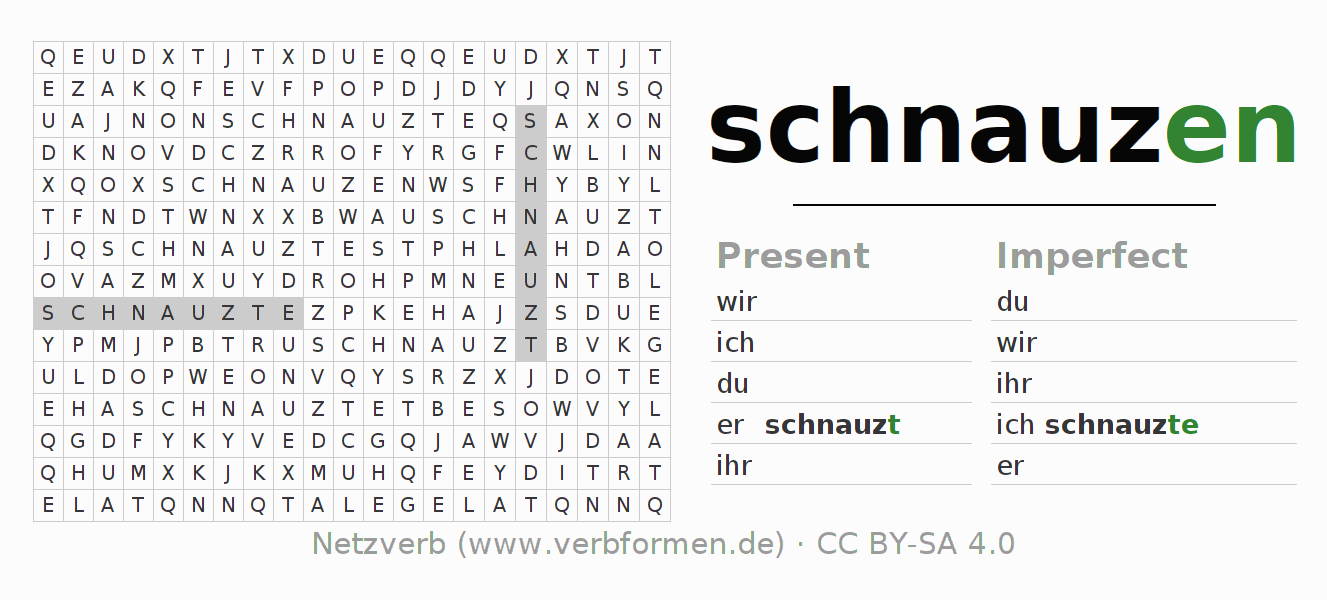 Word search puzzle for the conjugation of the verb schnauzen