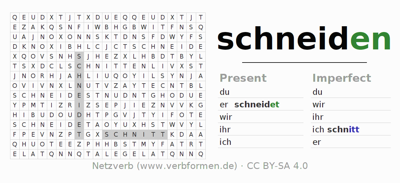 Word search puzzle for the conjugation of the verb schneiden