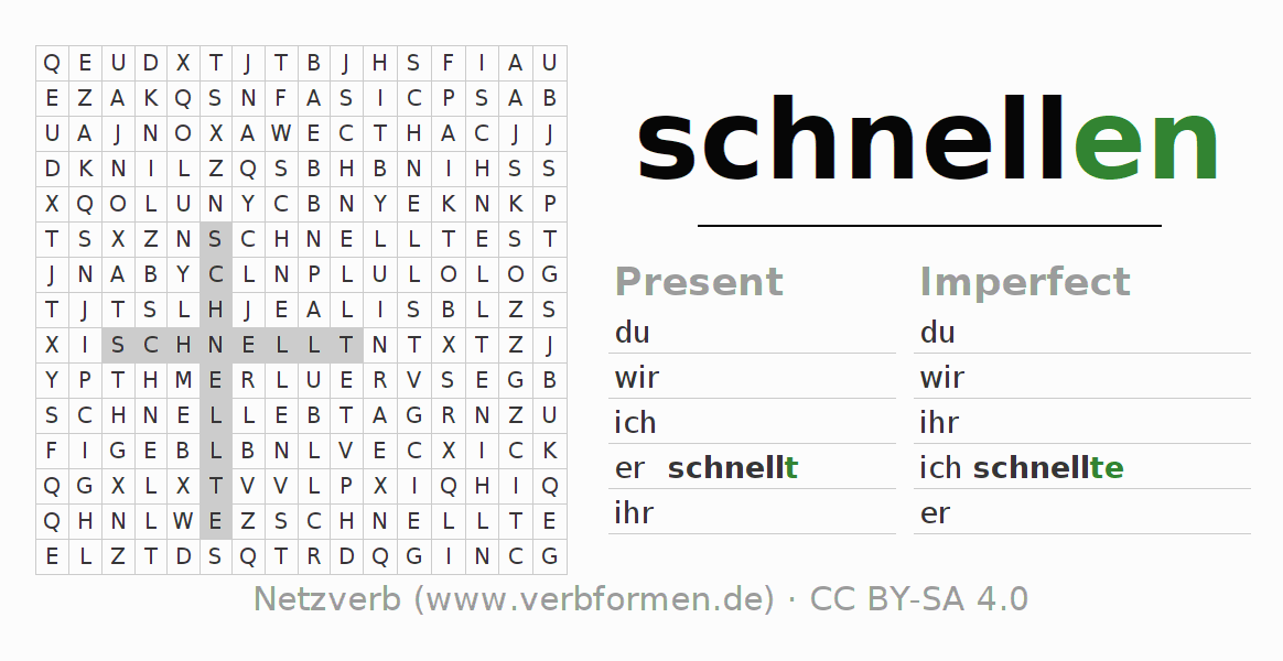 Word search puzzle for the conjugation of the verb schnellen (hat)