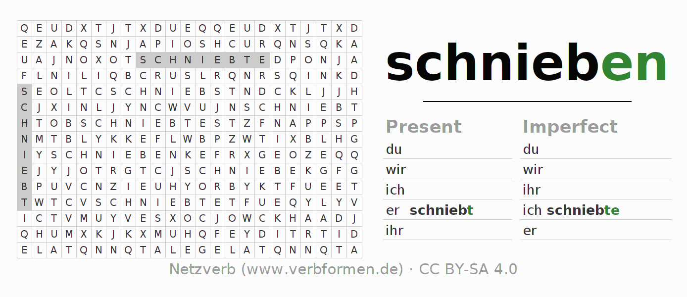 Word search puzzle for the conjugation of the verb schnieben (regelm)