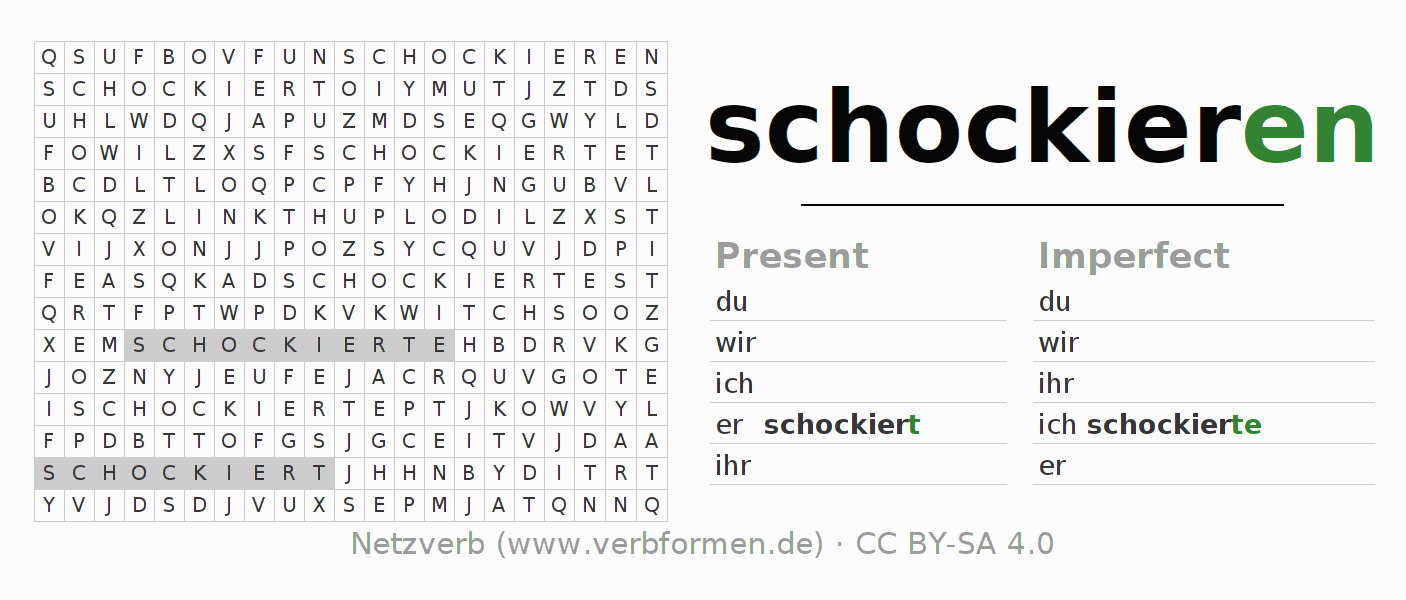 Word search puzzle for the conjugation of the verb schockieren