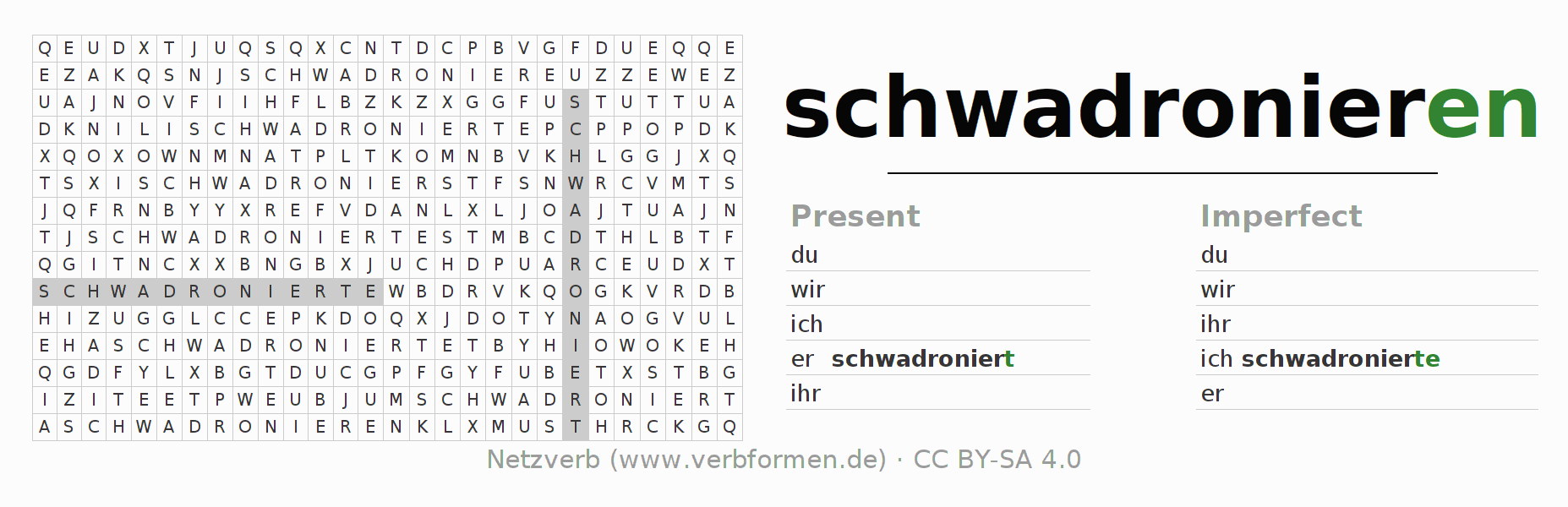 Word search puzzle for the conjugation of the verb schwadronieren