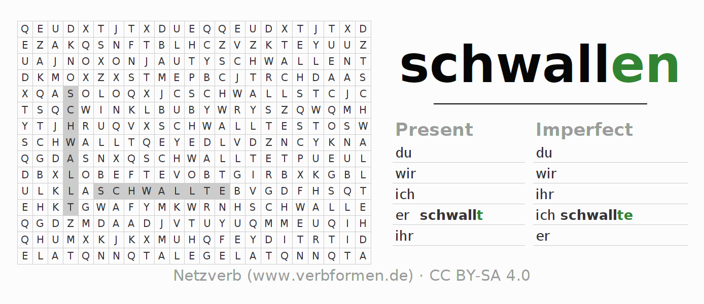 Word search puzzle for the conjugation of the verb schwallen