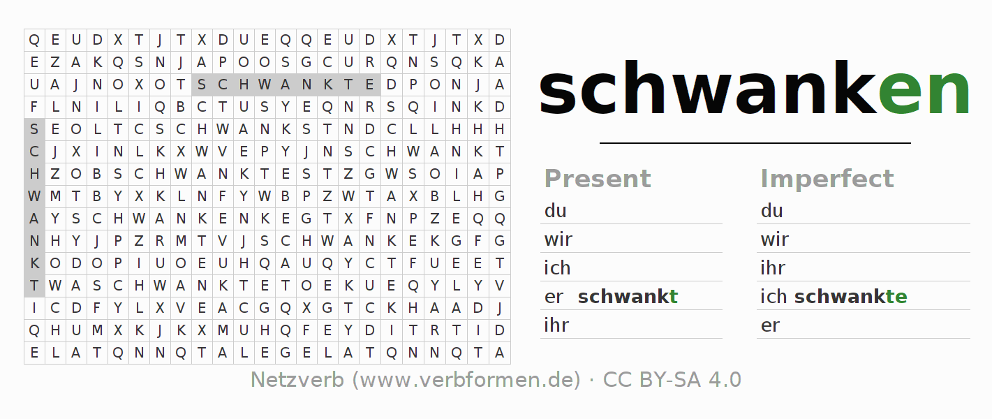 Word search puzzle for the conjugation of the verb schwanken (hat)