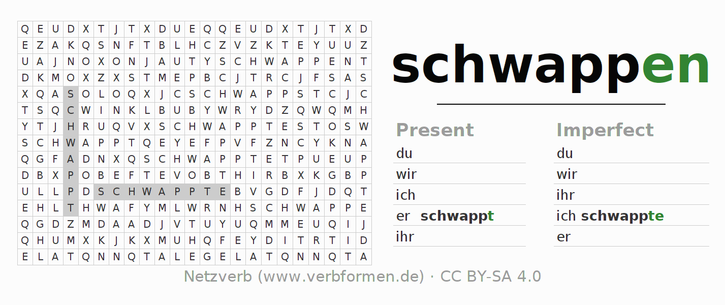 Word search puzzle for the conjugation of the verb schwappen (ist)