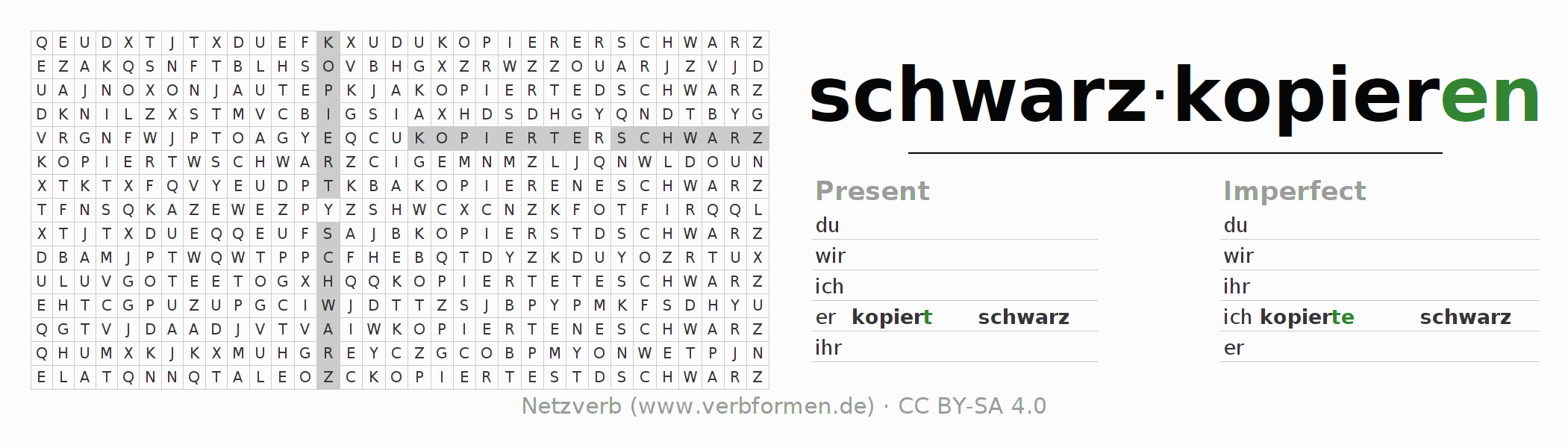 Word search puzzle for the conjugation of the verb schwarzkopieren