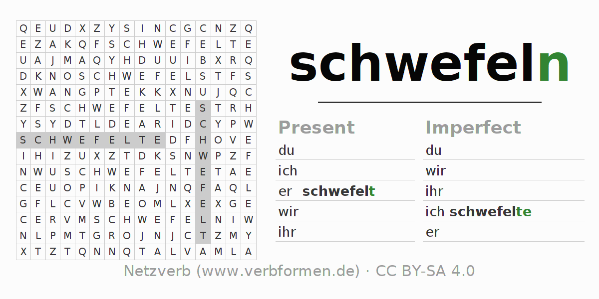 Word search puzzle for the conjugation of the verb schwefeln