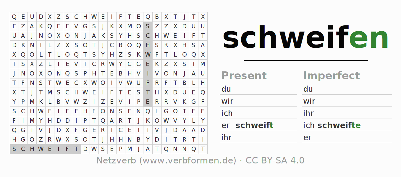Word search puzzle for the conjugation of the verb schweifen (ist)