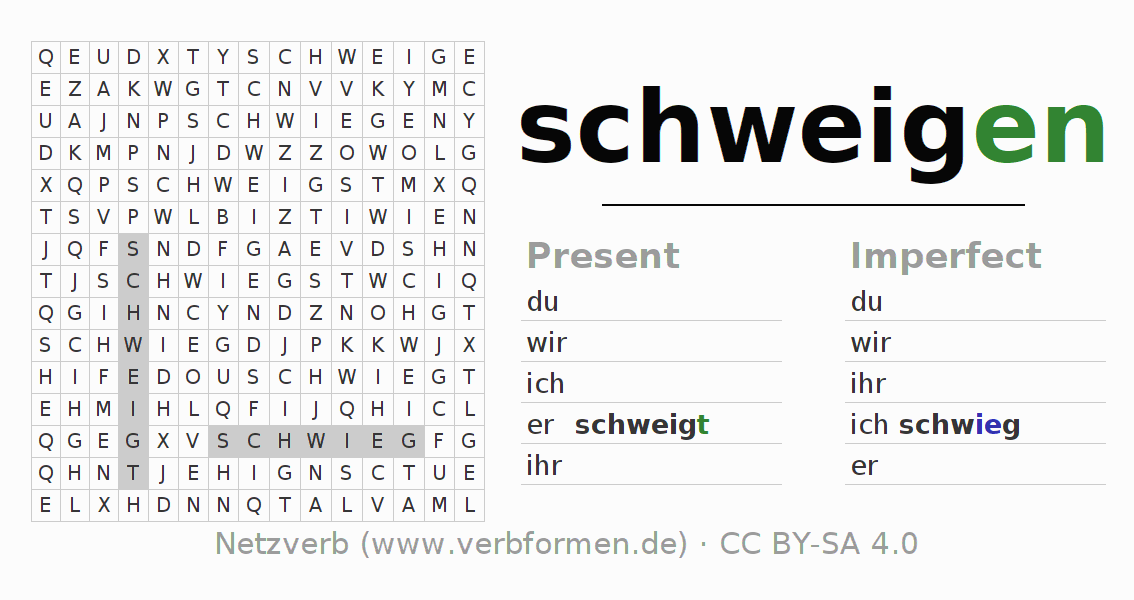 Word search puzzle for the conjugation of the verb schweigen