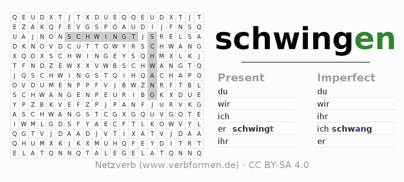 Word search puzzle for the conjugation of the verb schwingen (ist)