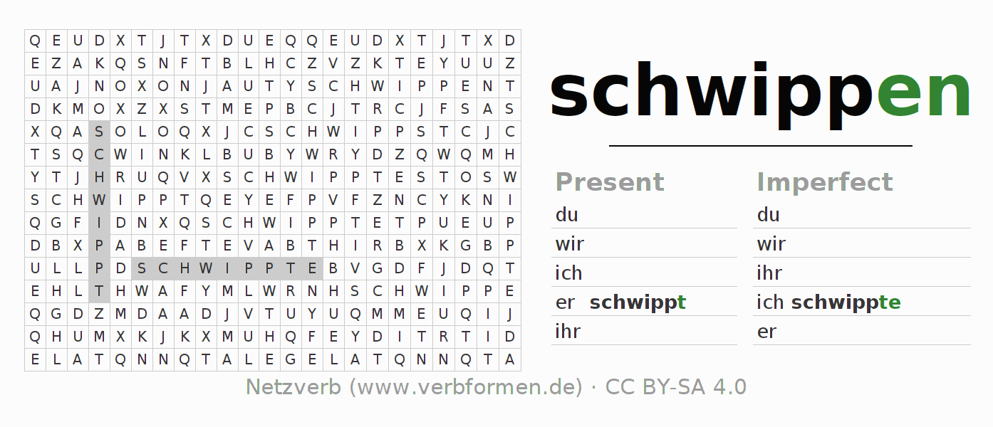 Word search puzzle for the conjugation of the verb schwippen (hat)