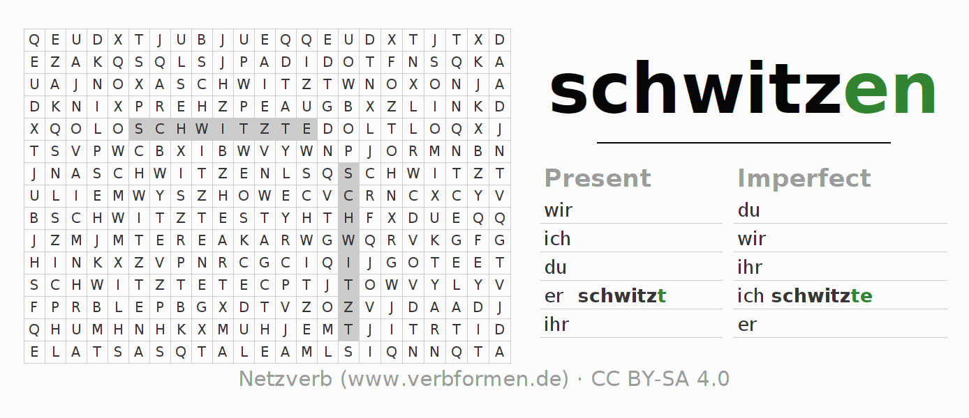 Word search puzzle for the conjugation of the verb schwitzen