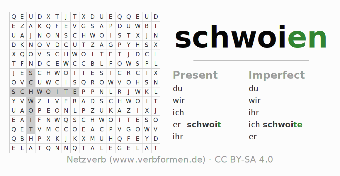 Word search puzzle for the conjugation of the verb schwoien