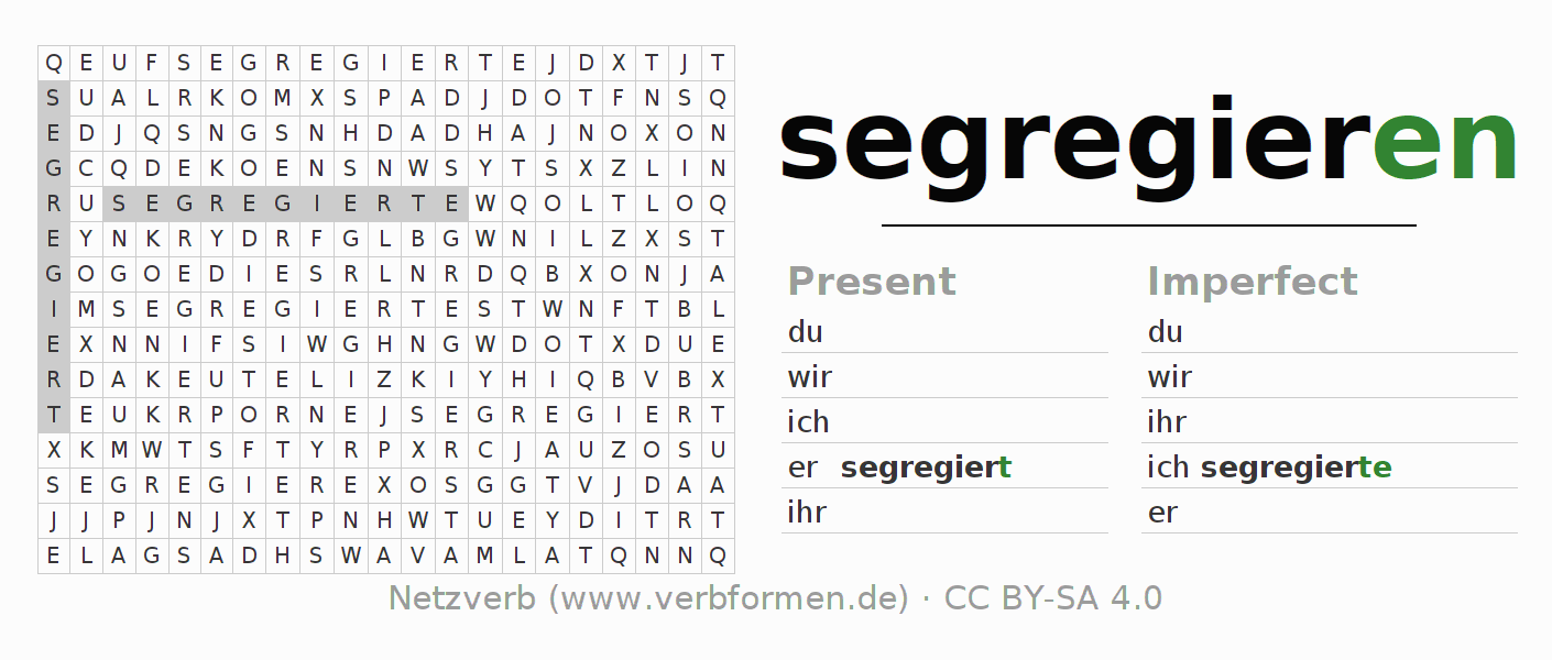 Word search puzzle for the conjugation of the verb segregieren