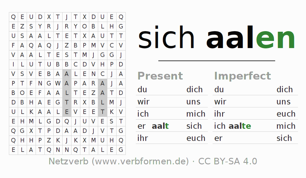 Word search puzzle for the conjugation of the verb sich aalen