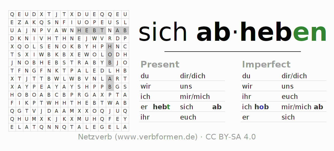 Word search puzzle for the conjugation of the verb sich abheben