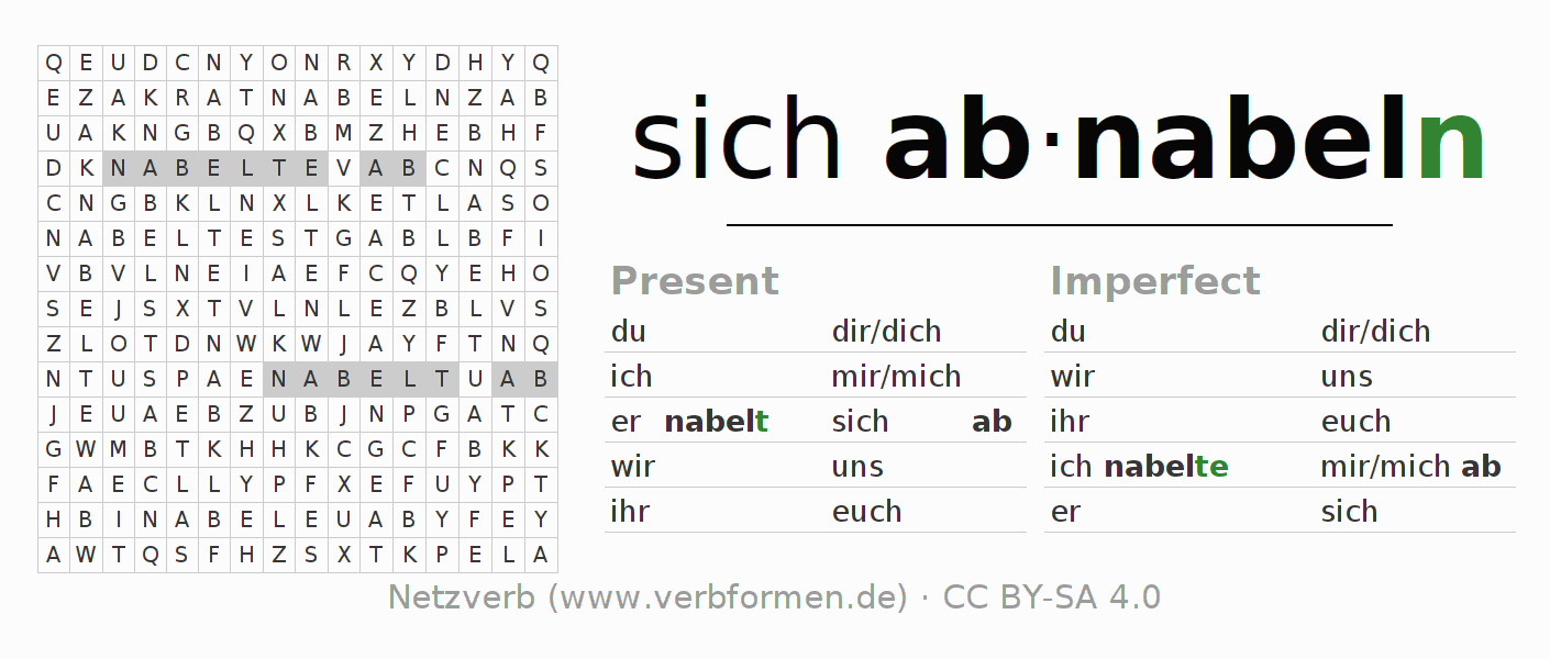 Word search puzzle for the conjugation of the verb sich abnabeln