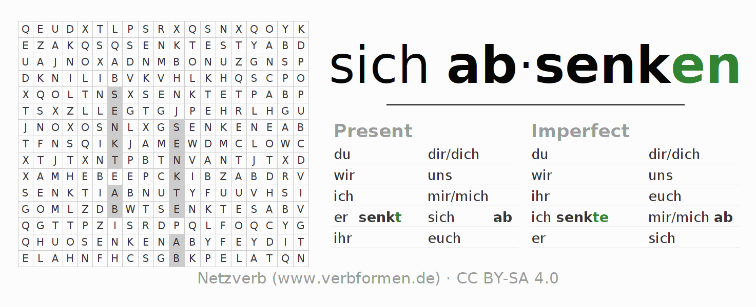 Word search puzzle for the conjugation of the verb sich absenken