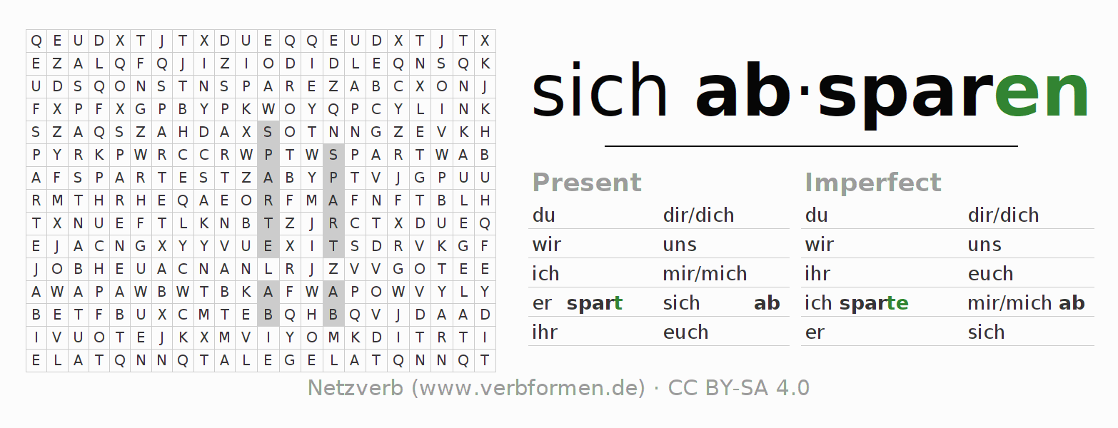 Word search puzzle for the conjugation of the verb sich absparen