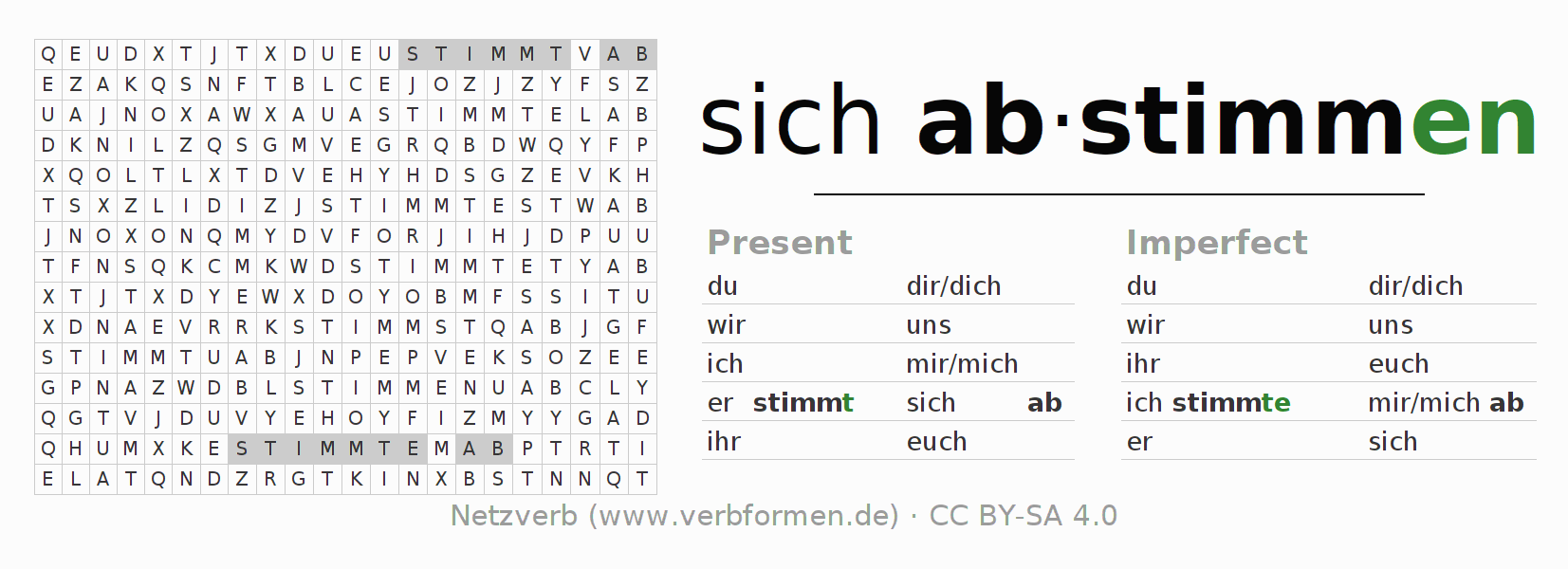 Word search puzzle for the conjugation of the verb sich abstimmen