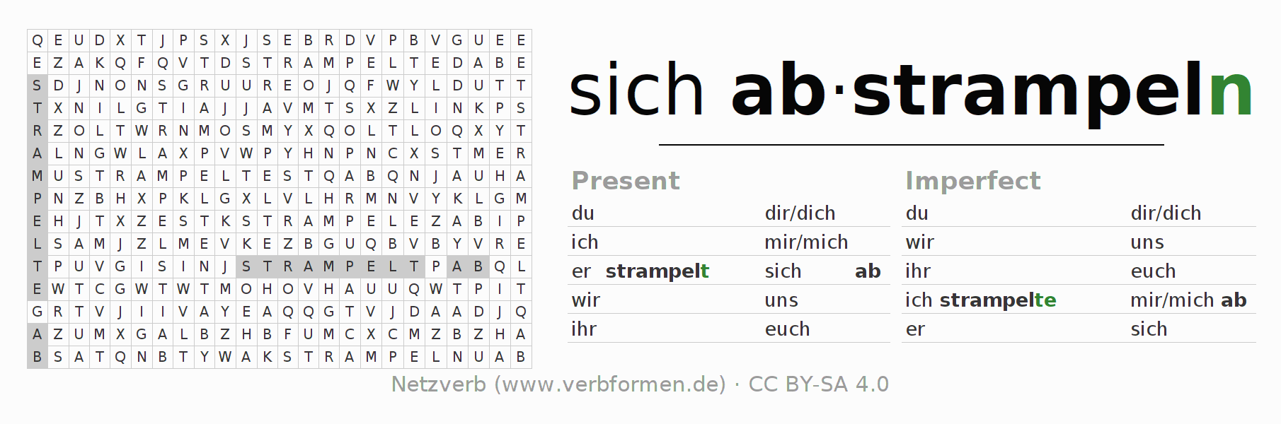 Word search puzzle for the conjugation of the verb sich abstrampeln