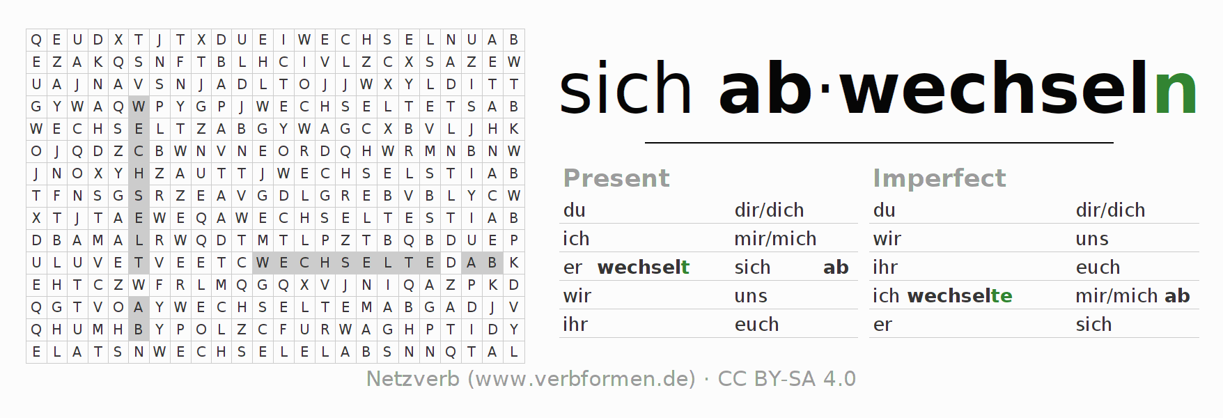 Word search puzzle for the conjugation of the verb sich abwechseln