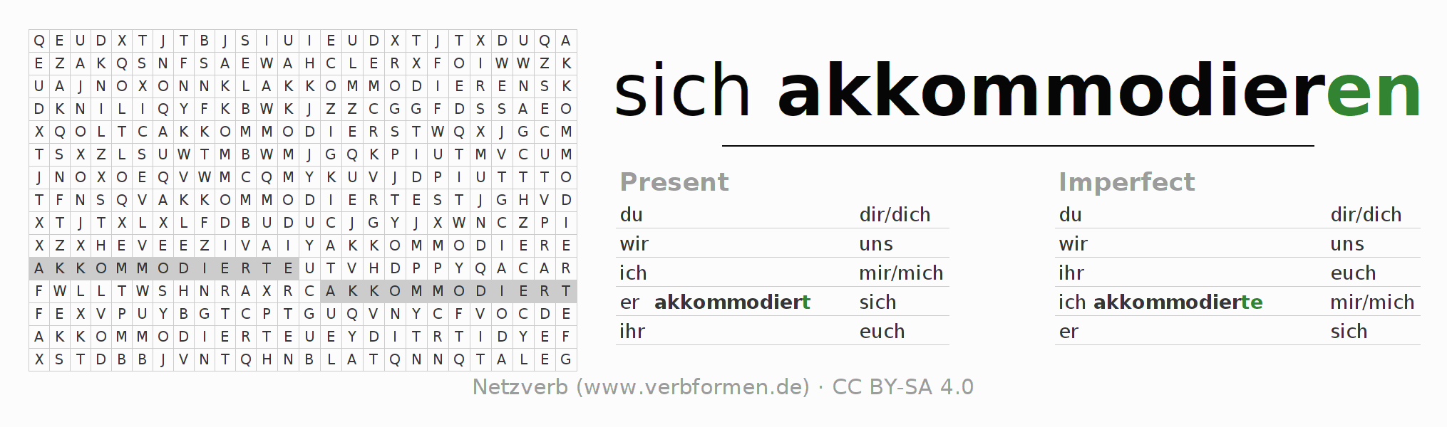 Word search puzzle for the conjugation of the verb sich akkommodieren
